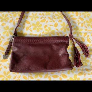 Lucky Brand Maroon Leather Crossbody Bag Purse